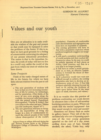Allport, Gordon W.: Values and our youth von Allport, Gordon W.