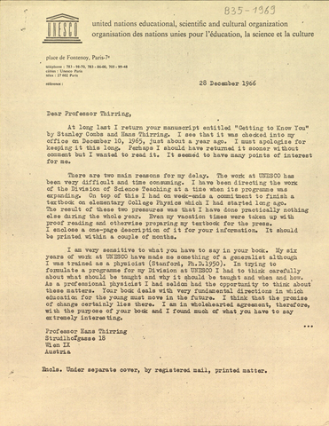 Brief von Baez, Albert V. an Thirring, Hans (o.O. [Paris], 1966-12-28) von Baez, Albert V.