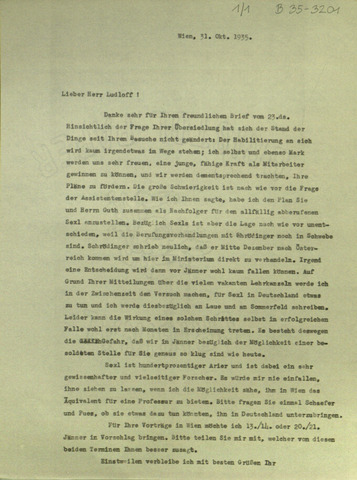 Brief von Thirring, Hans an Ludloff, Hanfried (Wien, 1935-10-31) von Thirring, Hans